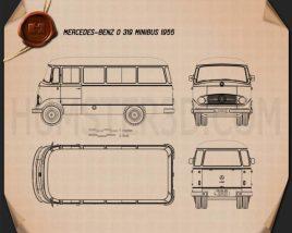 Mercedes-Benz O-319 Minibus 1955 Blueprint