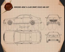 Mercedes-Benz S-class (V222) AMG 2017 Blueprint