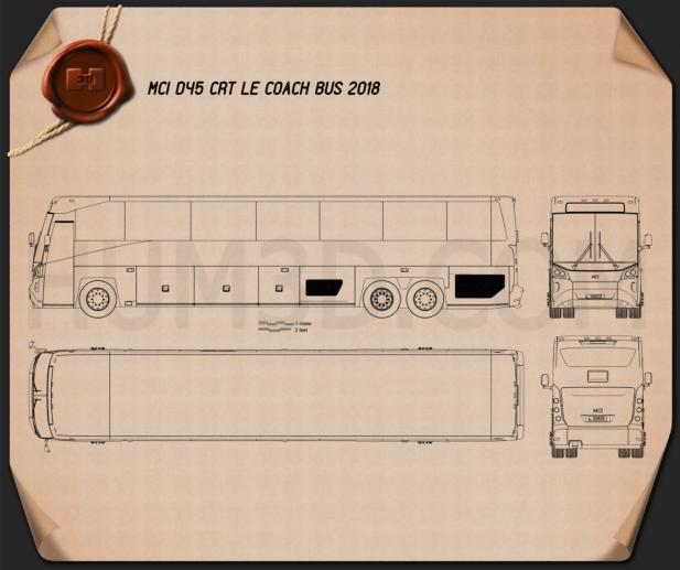 MCI D45 CRT LE Coach Bus 2018 Blueprint