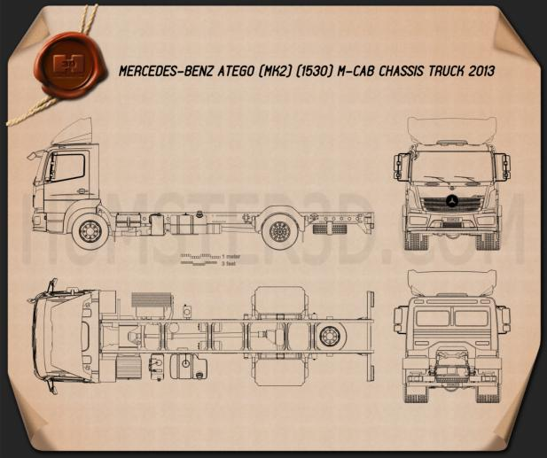 Mercedes-Benz Atego (1530) M-Cab Chassis Truck 2013 Blueprint
