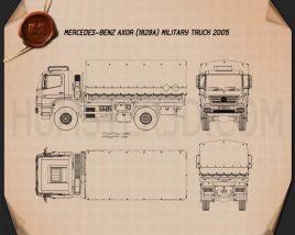 Mercedes-Benz Axor (1828A) Military Truck 2005 Blueprint