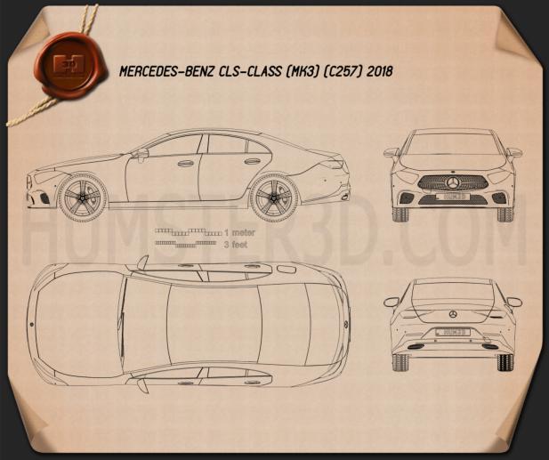 Mercedes-Benz CLS-class (C257) 2018 Blueprint