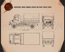 Mercedes-Benz Unimog U5000 Military Truck 2002 Blueprint
