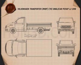 Volkswagen Transporter (T6) Single Cab Pickup L2 2016 Blueprint