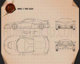 Rimac C Two 2020 Blueprint