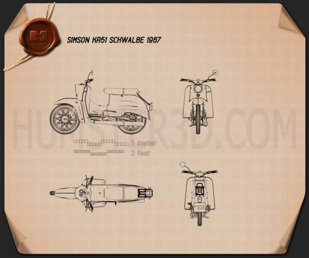 Simson KR51 Schwalbe 1967 Blueprint