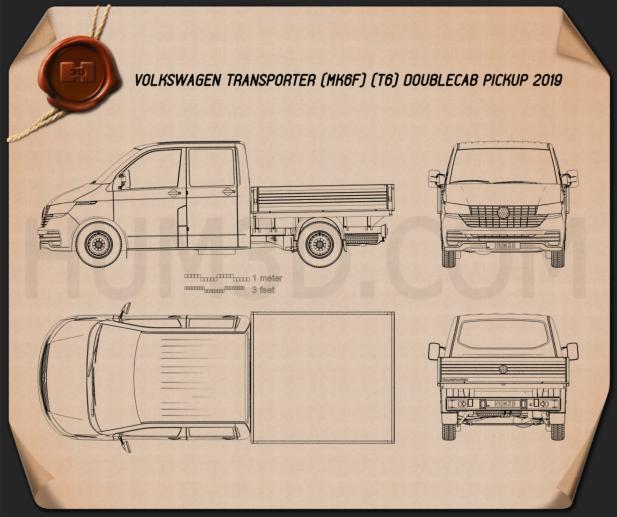 Volkswagen Transporter Double Cab Pickup 2019 Blueprint