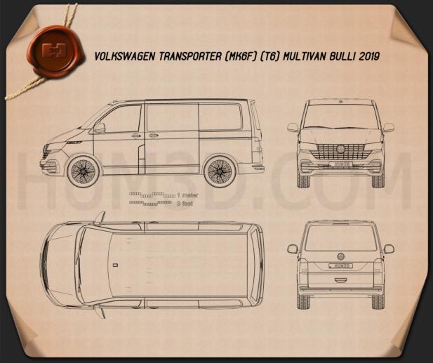 Volkswagen Transporter Multivan Bulli 2019 Blueprint