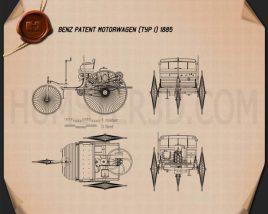 Benz Patent-Motorwagen 1885 Blueprint