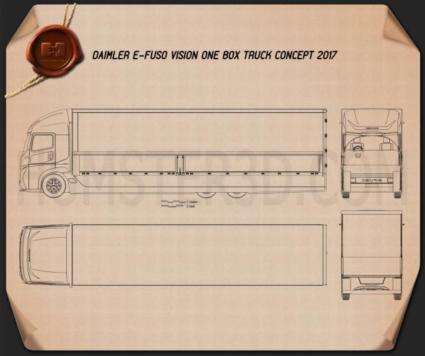 Daimler E-Fuso Vision One Box Truck 2017 Blueprint