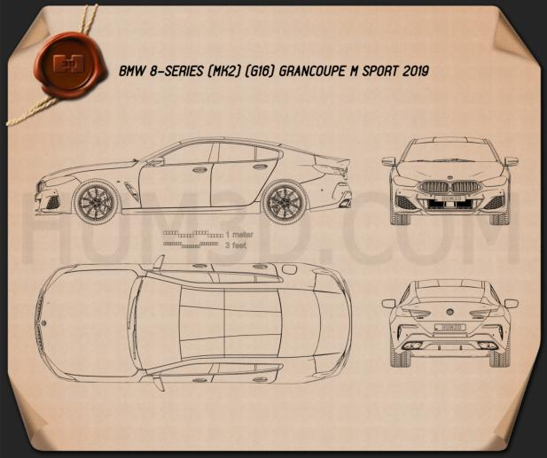 BMW 8 Series (G16) GranCoupe M-sport 2019 Blueprint