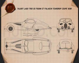 Talbot Lago T150 SS Figoni et Falaschi Teardrop Coupe 1938 Blueprint