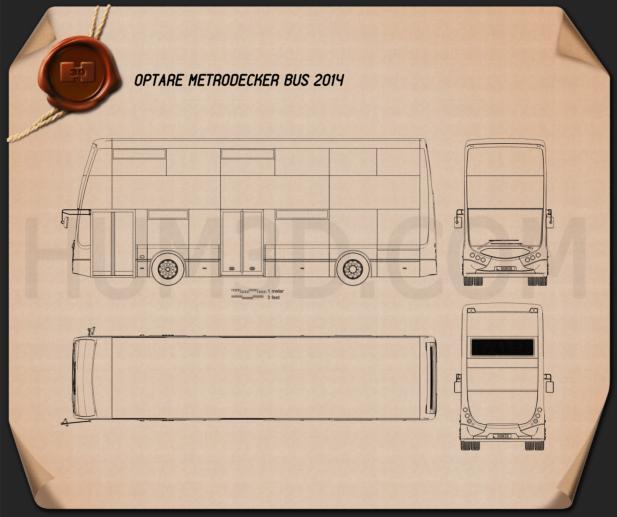 Optare MetroDecker Bus 2014 Blueprint