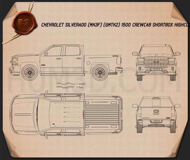 Chevrolet Silverado 1500 Crew Cab Short Box High Country 2018 Blueprint