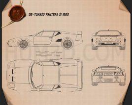 De Tomaso Pantera SI 1990 Blueprint