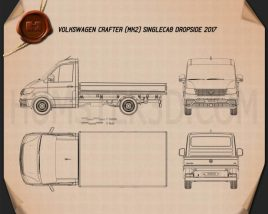 Volkswagen Crafter Single Cab Dropside 2017 Blueprint