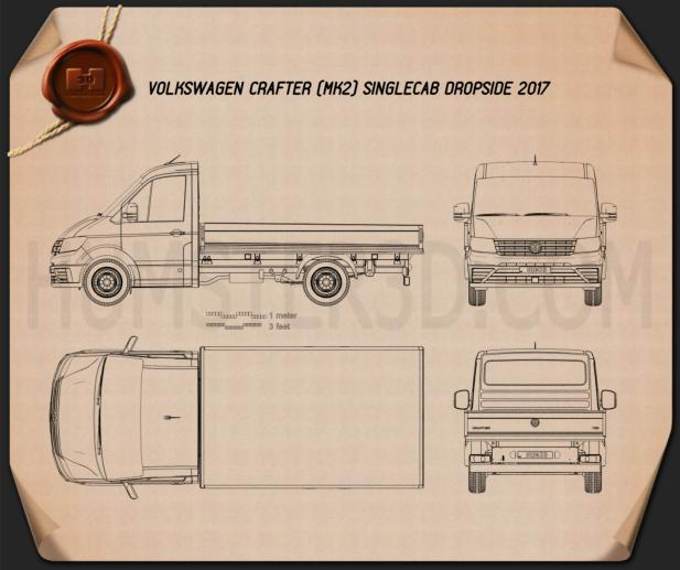 Volkswagen Crafter Single Cab Dropside 2017 Blueprint
