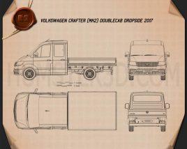 Volkswagen Crafter Double Cab Dropside 2017 Blueprint