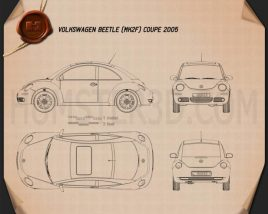 Volkswagen Beetle coupe 2005 Blueprint