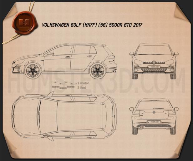 Volkswagen Golf GTD 5-door 2017 Blueprint