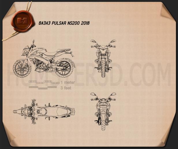 Bajaj Pulsar NS200 2018 Blueprint