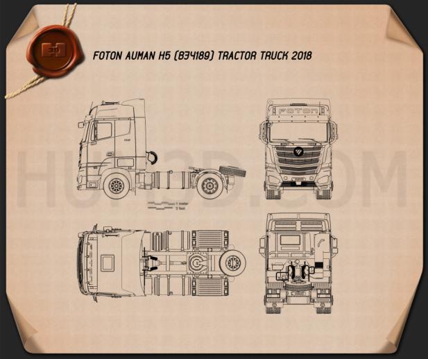 Foton Auman H5 Tractor Truck 2018 Blueprint