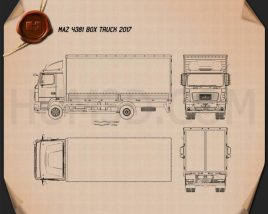 MAZ 4381 Box Truck 2017 Blueprint