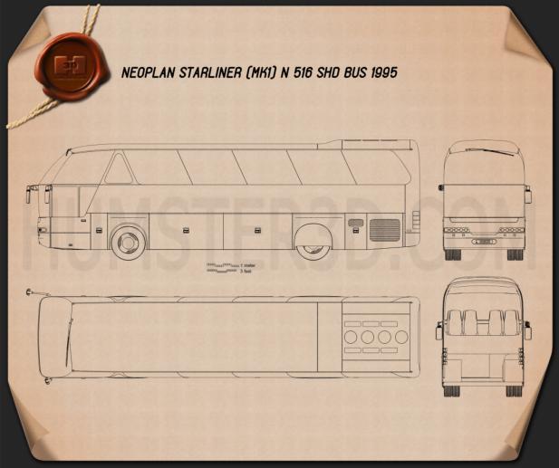 Neoplan Starliner N 516 SHD Bus 1995 Blueprint