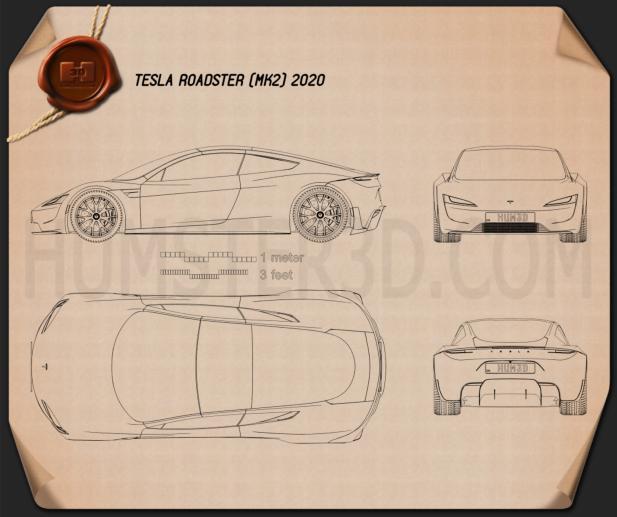 Tesla Roadster 2020 Blueprint