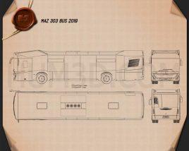 MAZ 303 Bus 2019 Blueprint