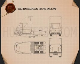Tesla Semi Sleeper Cab Tractor Truck 2018 Blueprint