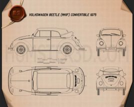 Volkswagen Beetle convertible 1975 Blueprint