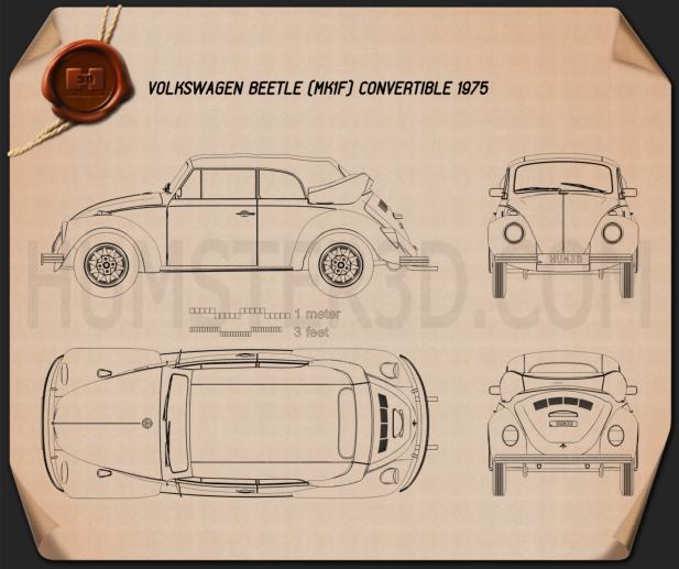 Volkswagen Beetle convertible 1975 Blueprint