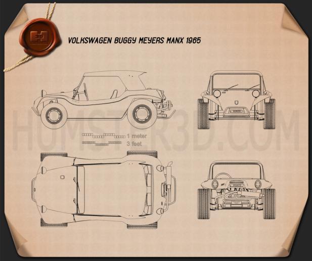 Volkswagen Buggy Meyers Manx 1965 Blueprint