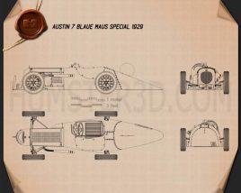 Austin 7 Blaue Maus Special 1929 Blueprint