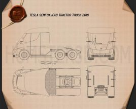 Tesla Semi Day Cab Tractor Truck 2018 Blueprint
