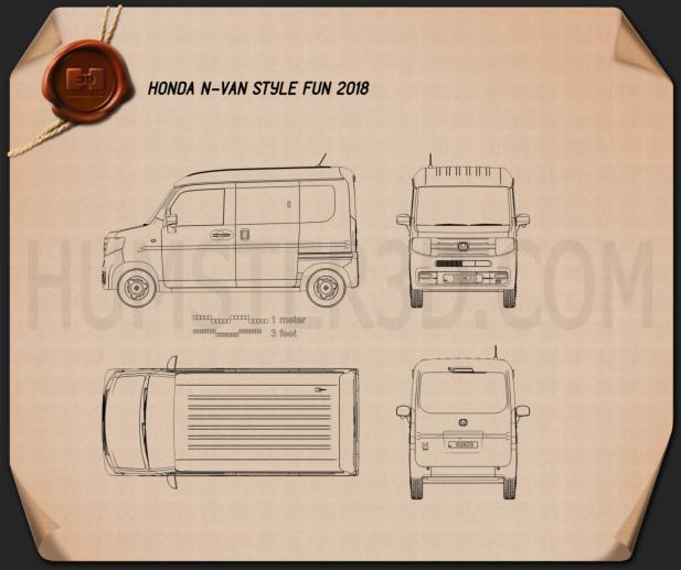Honda N-Van Style Fun 2018 Blueprint - Hum3D