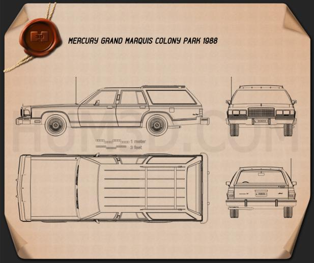 Mercury Grand Marquis Colony Park 1988 Blueprint