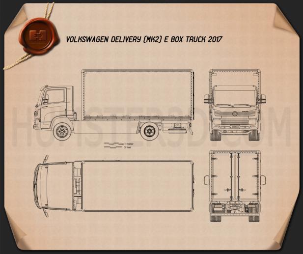 Volkswagen e-Delivery Box Truck 2017 Blueprint