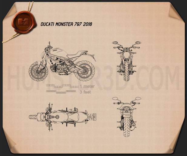 Ducati Monster 797 2018 Blueprint