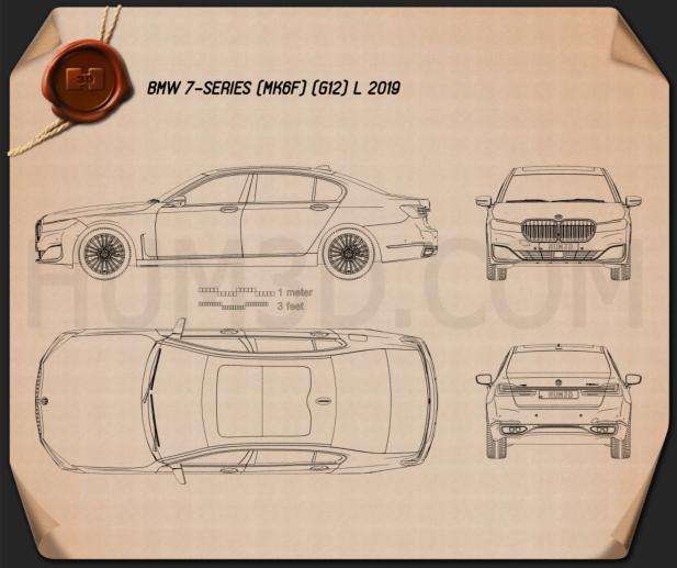 BMW 7-series L 2019 Blueprint