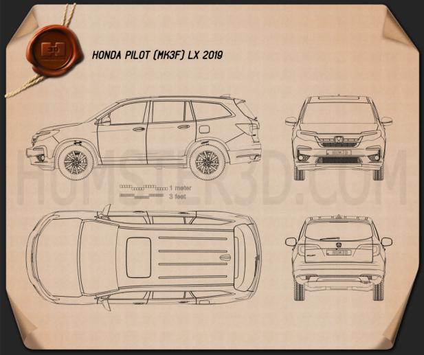 Honda Pilot LX 2019 Blueprint