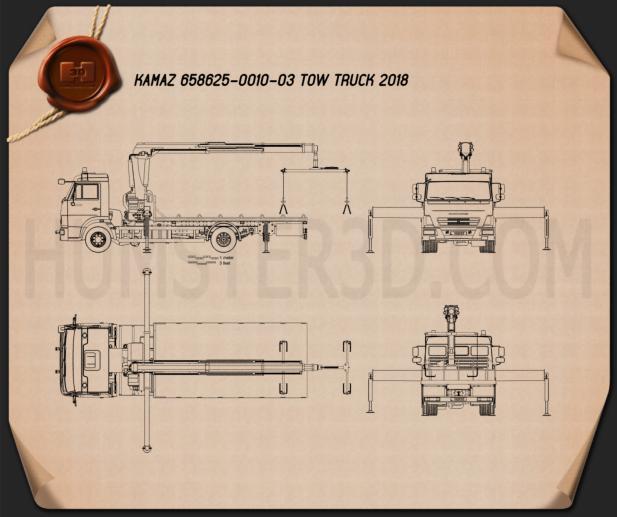 KamAZ 658625-0010-03 Tow Truck 2018 Blueprint