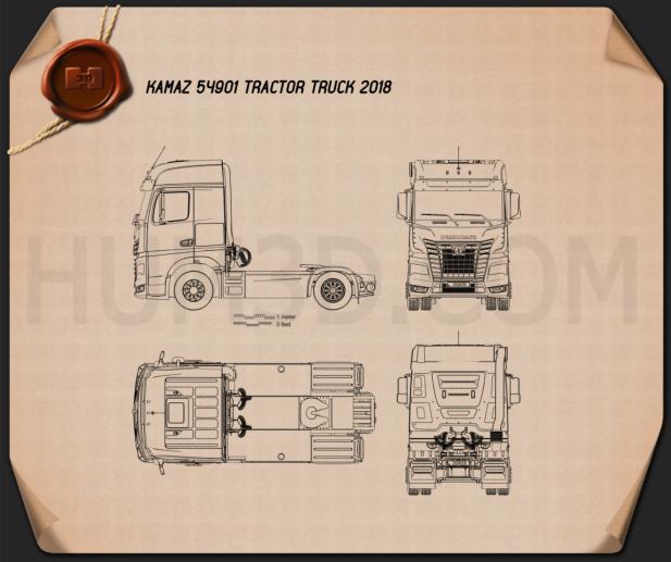 KamAZ 54901 Tractor Truck 2018 Blueprint