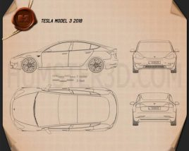 Tesla Model 3 2018 Blueprint