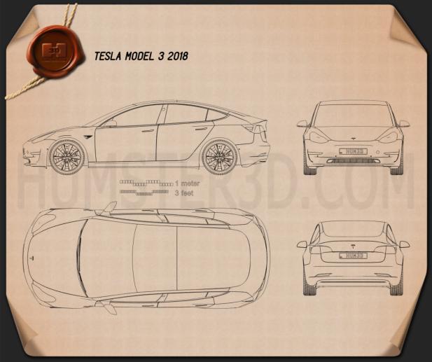Tesla Model 3 2018 Blueprint