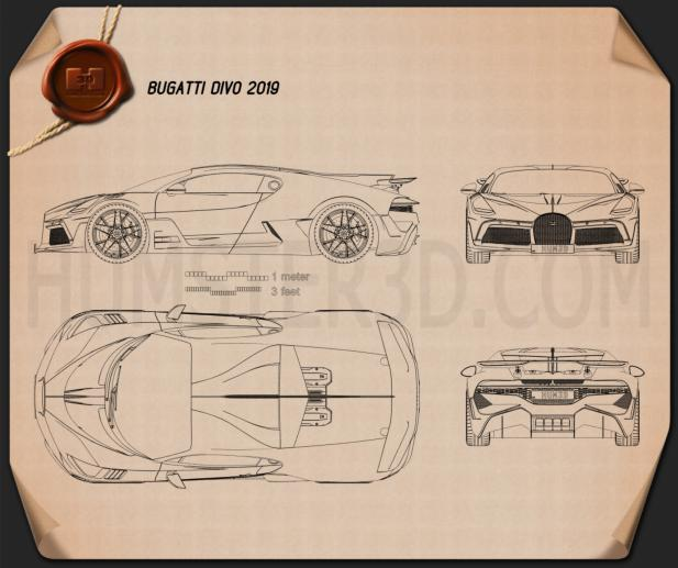 Bugatti Divo 2019 Blueprint
