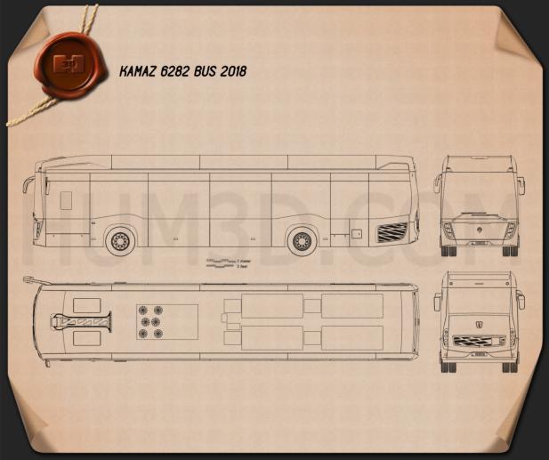KamAZ 6282 Bus 2018 Blueprint