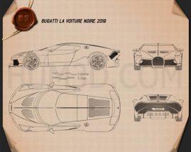 Bugatti La Voiture Noire 2019 Blueprint