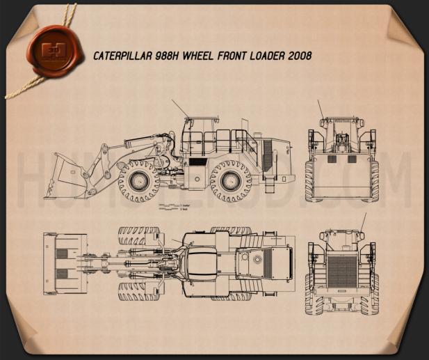 Caterpillar 988H Wheel Front Loader 2008 Blueprint